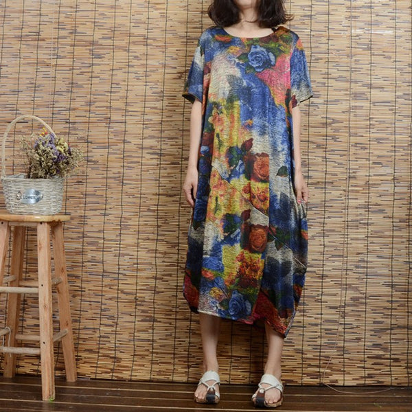Women summer cotton short sleeve printing dress - Buykud