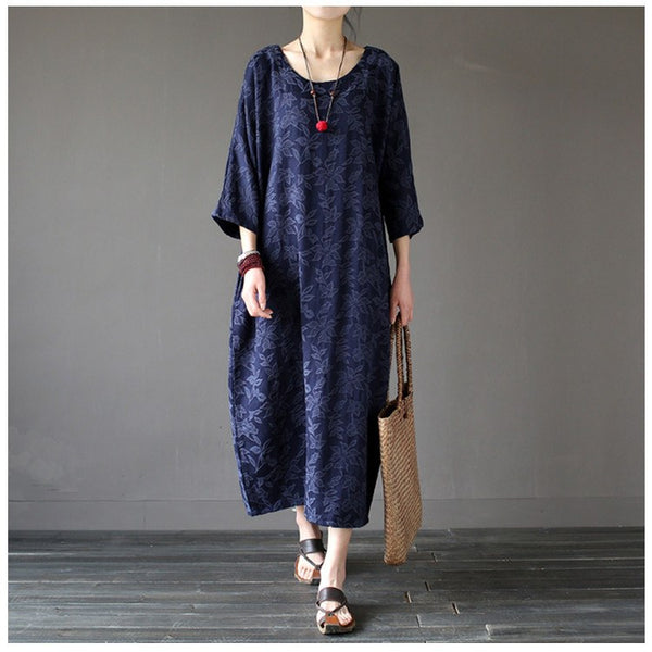 Women summer cotton vintage loose dress - Buykud