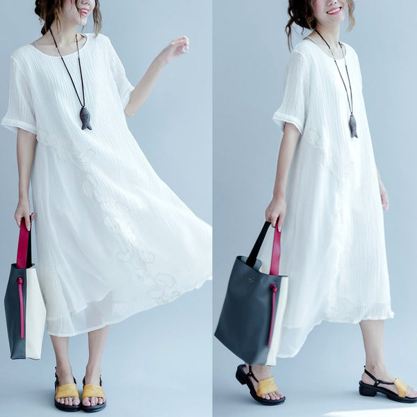 Dress - Women Summer Embroidery Patchwork Solid Color Long Dress