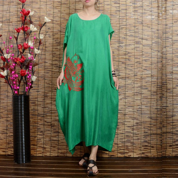 Women summer ethnic style bat sleeve cotton linen dress - Buykud