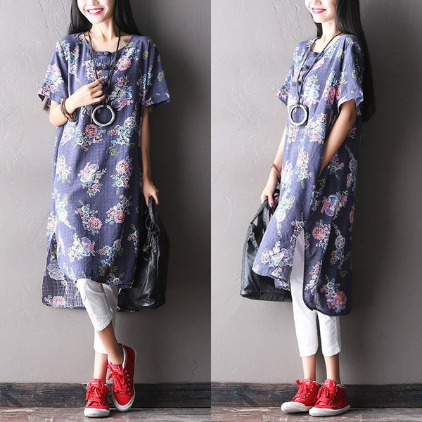 Dress - Women Summer Ethnic Style Flower Printed Linen Dress