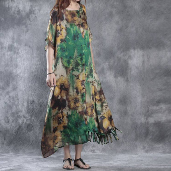 Dress - Women Summer Floral Tassel Loose Chiffon Dress & Sling Dress