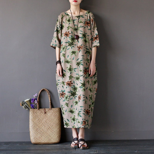 Dress - Women Summer Flower Printed Cotton Linen  Maxi Dress