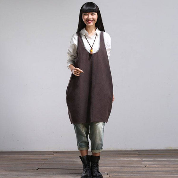 Dress - Women Summer Gray Sleeveless Vintage Vest Loose Pullover Cotton Sling Mini Dress