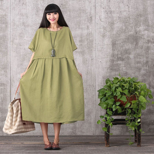 Women summer green short sleeve loose pullover cotton linen dress with pockets - Buykud