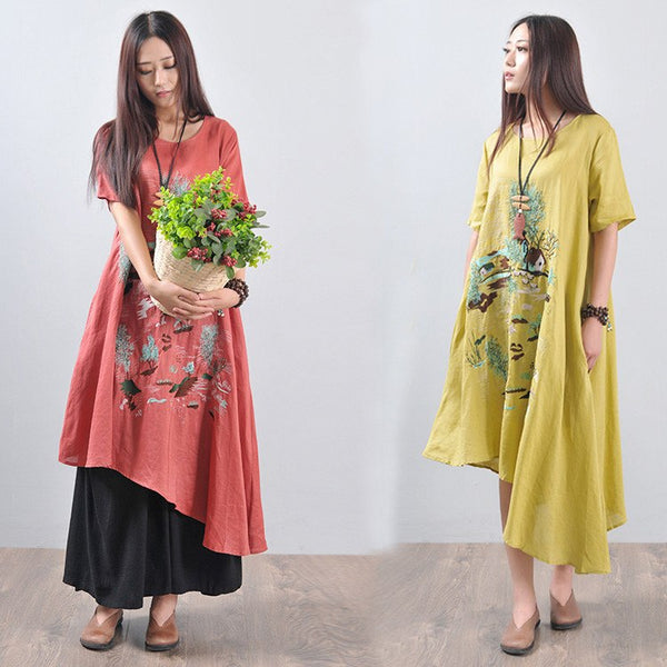 Women summer irregular ethnic style linen dress - Buykud