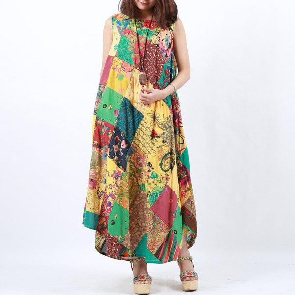 Dress - Women Summer Irregular Printing Vest Dress