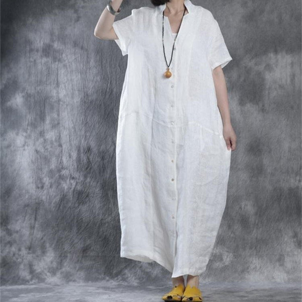 Dress - Women Summer Loose Fit Retro Linen Maxi Dress In White