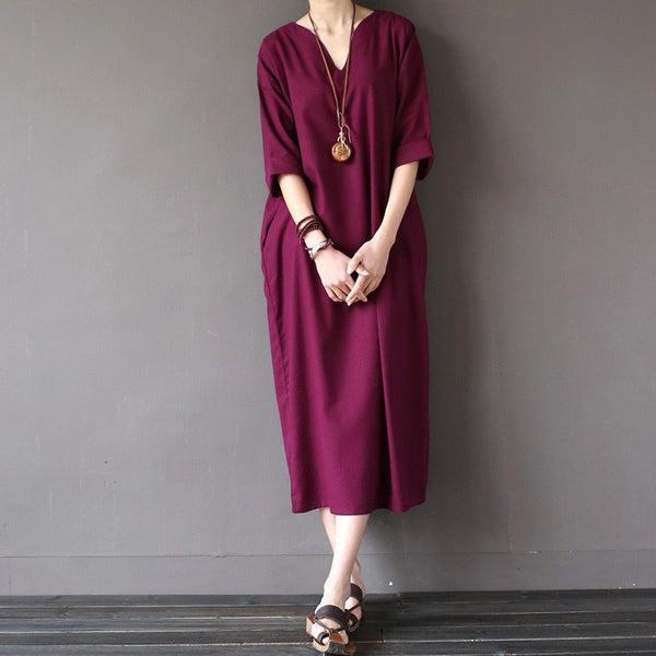 Dress - Women Summer Loose Pullover Cotton Dress