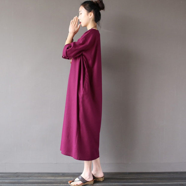 Women summer loose pullover cotton dress - Buykud