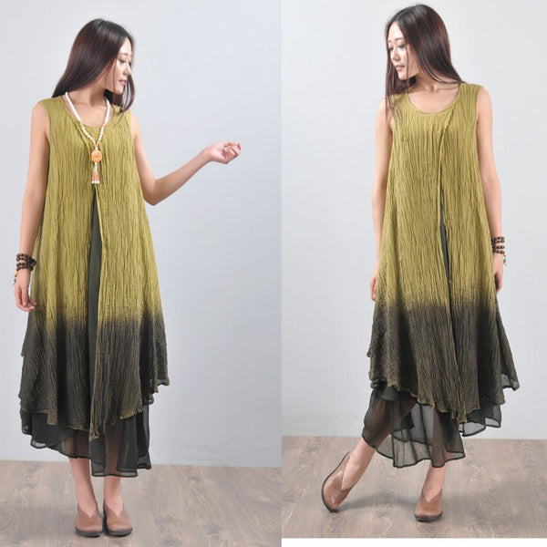Dress - Women Summer Mixed Color Cotton Linen Dress