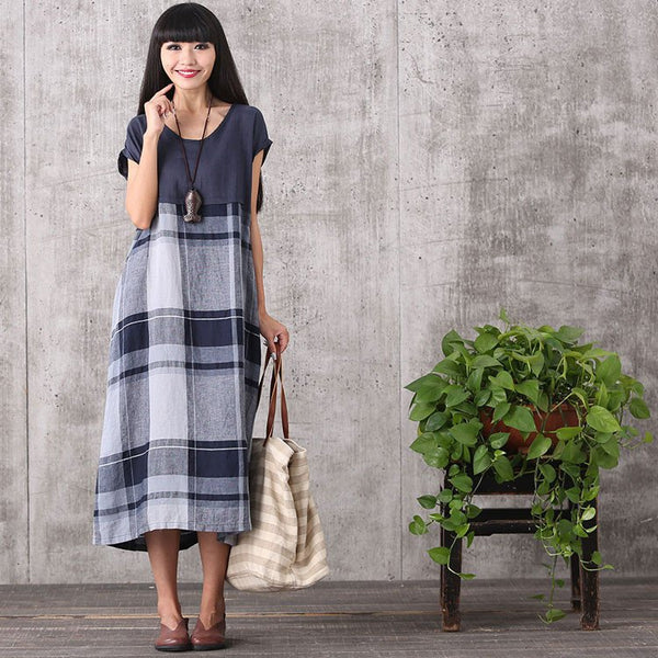 Dress - Women Summer Plaid Stitching Loose Cotton Linen Dress