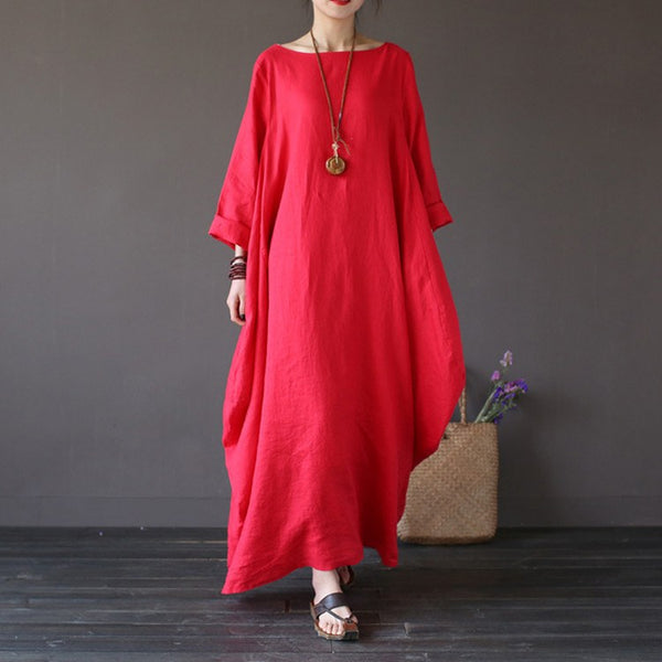 Women summer printing cotton linen loose dress - Buykud