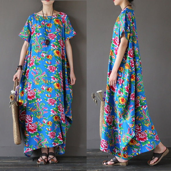 Women summer printing ethnic style cotton linen dress - Buykud