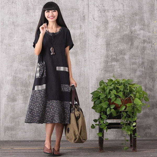 Dress - Women Summer Printing Stitching Loose Cotton Linen Dress