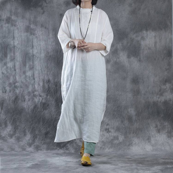 Dress - Women Summer Pure Linen Long Shirt Dress In White