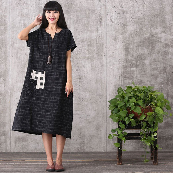 Dress - Women Summer Retro Style Loose Cotton Linen Dress
