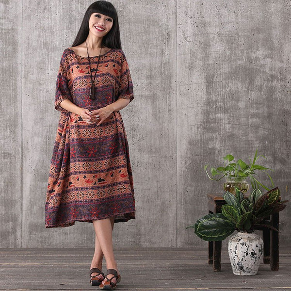 Women summer retro style short sleeve loose pullover printing cotton linen dress with pockets - Buykud