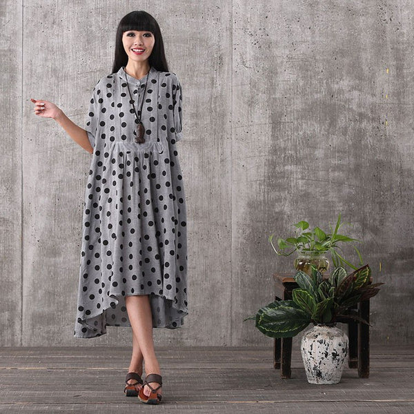 Dress - Women Summer Short Sleeve Irregular Loose Pullover Collar Linen Dress With Pockets