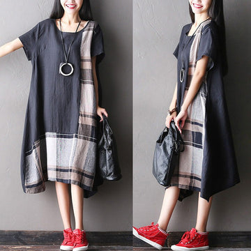 Women summer short sleeve loose cotton linen dress - Buykud