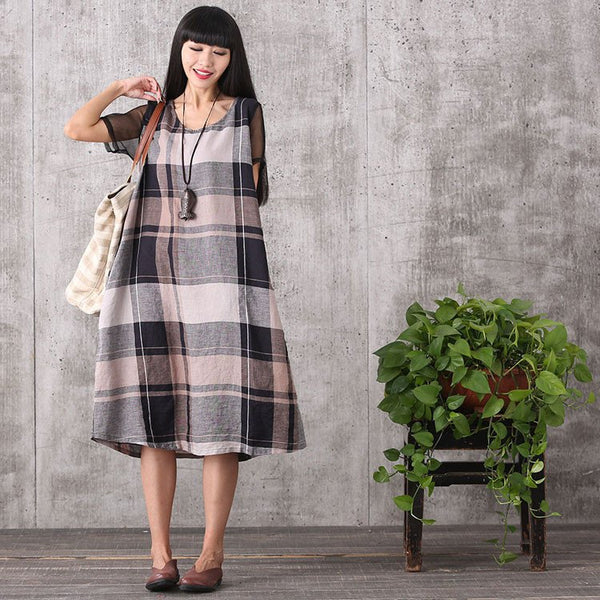 Dress - Women Summer Short Sleeve Loose Cotton Linen Plaid Dress