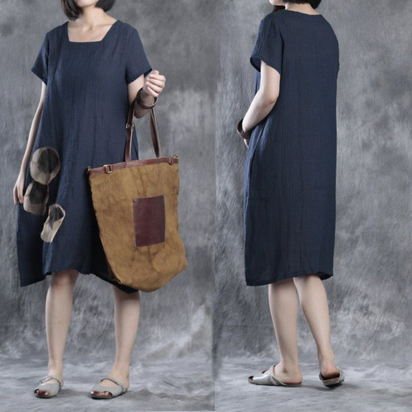 Dress - Women Summer Short Sleeve Loose Cotton Linen&Silk Dress
