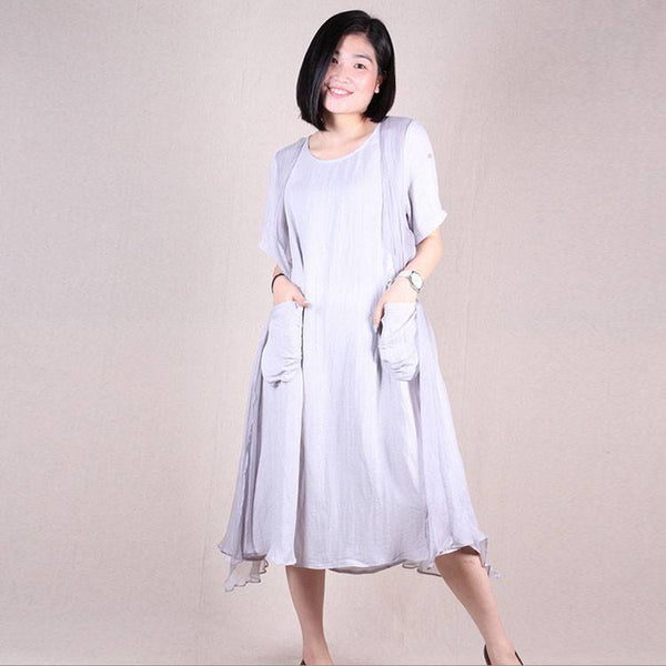 Women summer short sleeve loose fake two piece irregular linen silk mini dresses - Buykud