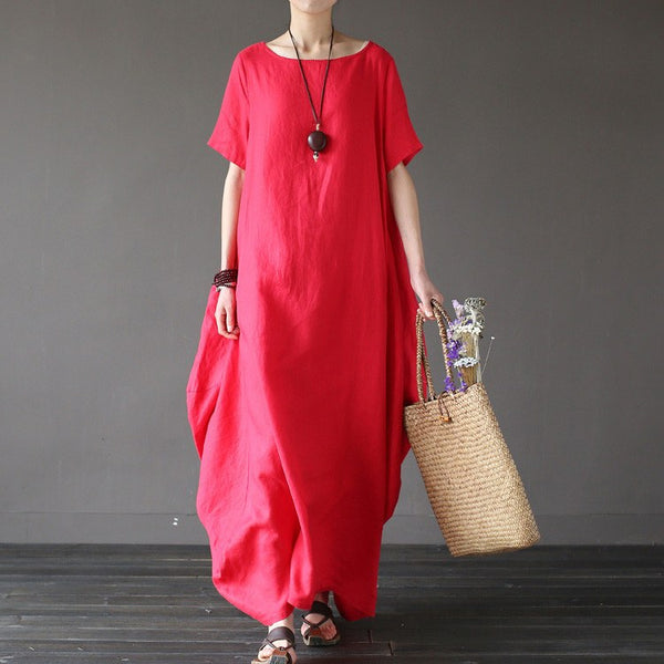 Women summer short sleeve loose linen dress - Buykud