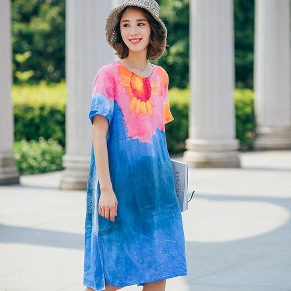 Dress - Women Summer Short Sleeve Print Loose Linen Dress