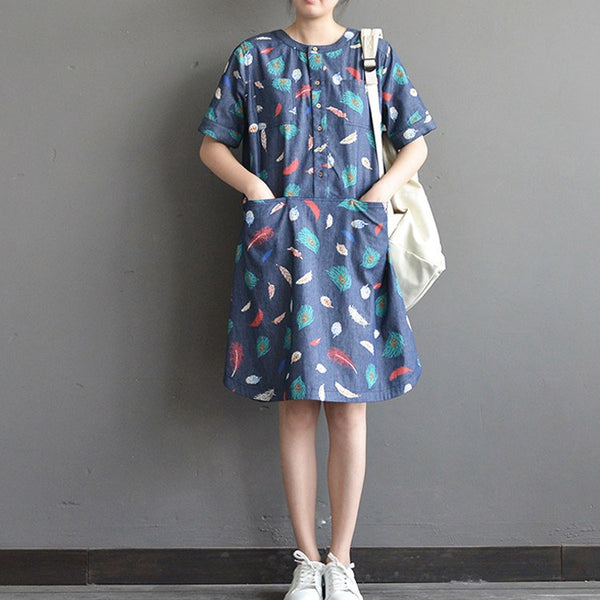 Women summer short sleeve printing cotton dress - Buykud