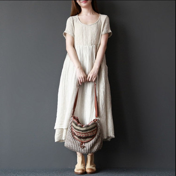 Dress - Women Summer Short Sleeve Pullover Linen Dress