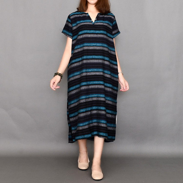 Women summer short sleeve stripe cotton dress - Buykud