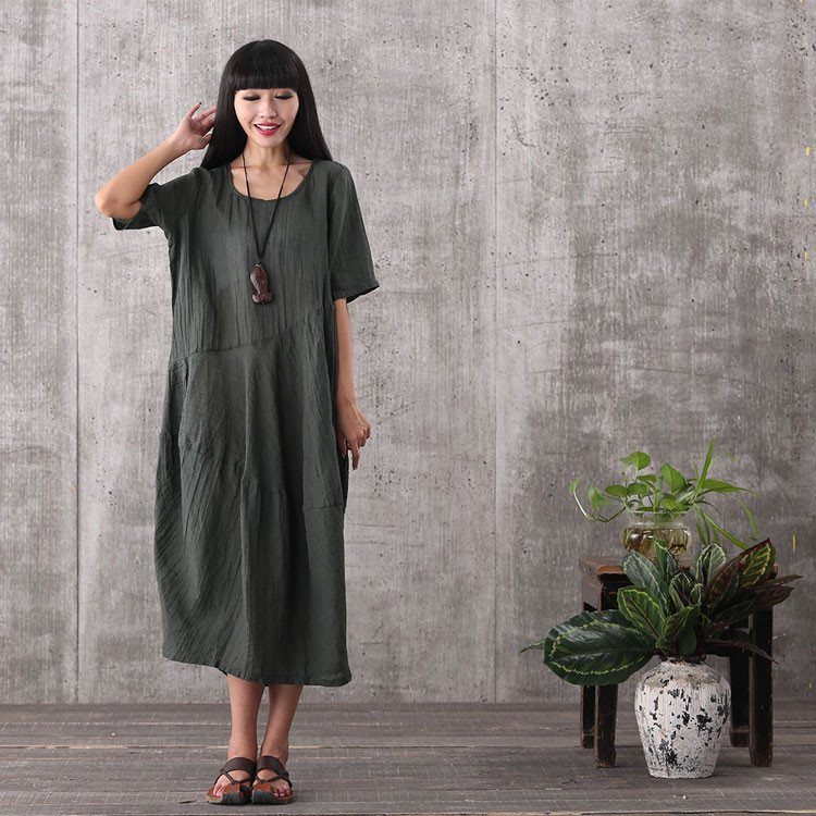 Dress - Women Summer Short Sleeve Vintage Loose Pullover Green Linen Dresses With Pockets