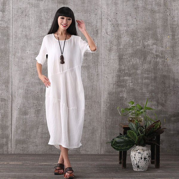 Dress - Women Summer Short Sleeve White Loose Pullover Linen Long Dresses With Pockets