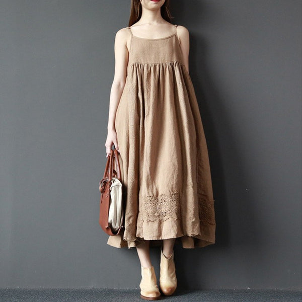 Dress - Women Summer Sleeveless Cotton Linen Sling Dress