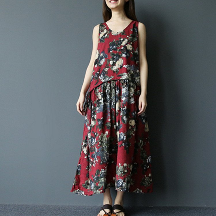 Dress - Women Summer Sleeveless Floral Cotton Linen Dress