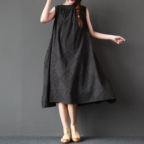 Women summer sleeveless loose cotton linen dress - Buykud