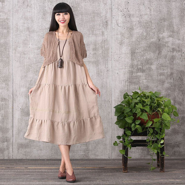 Women summer sleeveless loose cotton linen dress&hollow top - Buykud