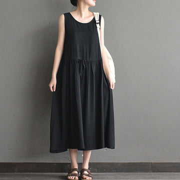 Women summer sleeveless loose cotton vest dress - Buykud