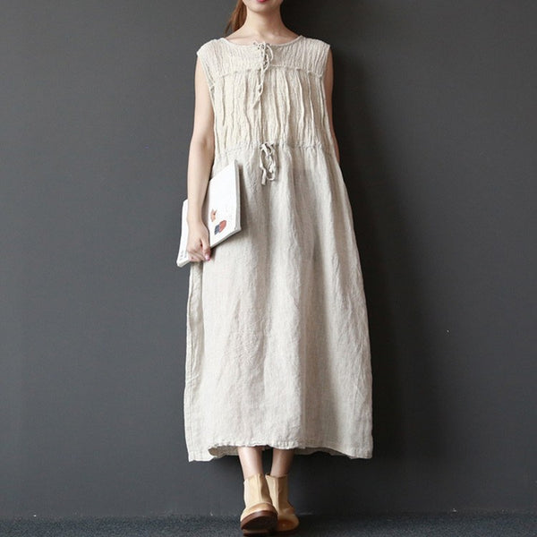 Dress - Women Summer Sleeveless Loose Linen Vest Dress