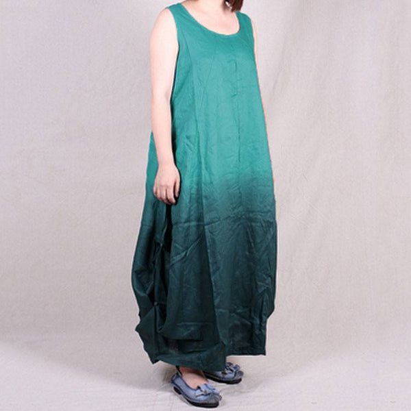 Women summer sleeveless loose mixed color cotton linen dresses with pockets - Buykud
