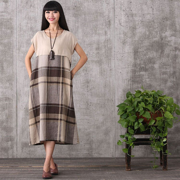 Dress - Women Summer Sleeveless Plaid Stitching Cotton Linen Dress