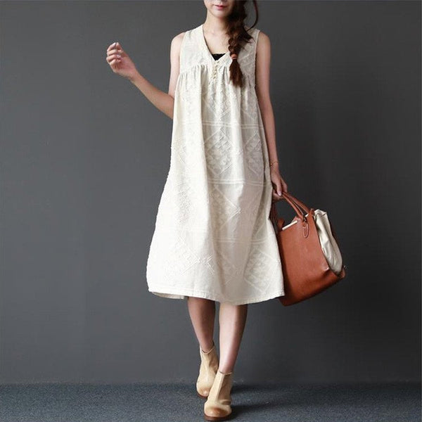 Dress - Women Summer Sleeveless Pullover Cotton Linen Dress
