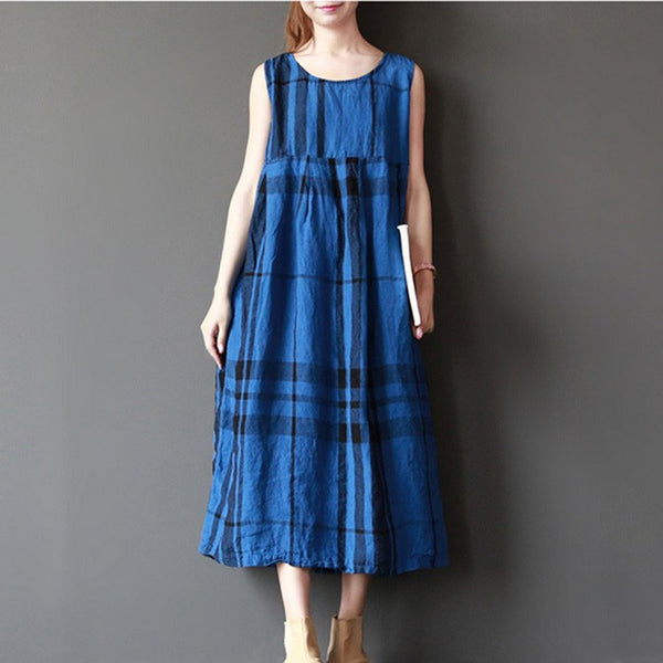Dress - Women Summer Sleeveless Retro Style Loose Cotton Dress