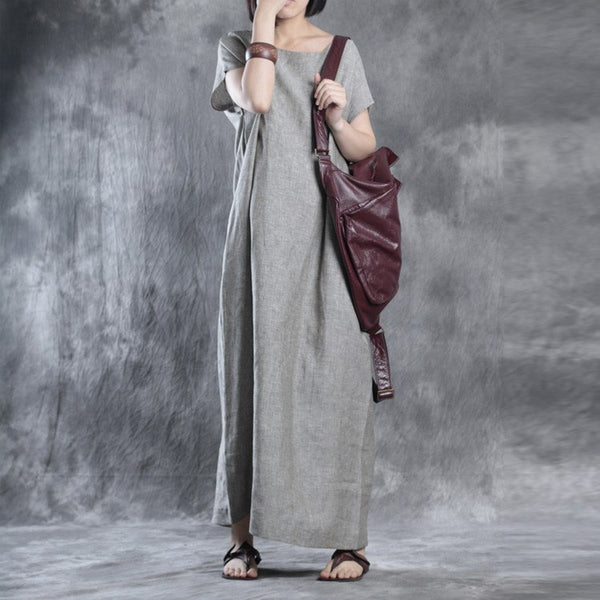 Women summer solid color loose linen dress - Buykud