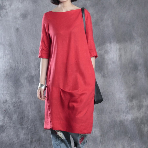 Dress - Women Summer Solid Color Simple Linen Dress In Red