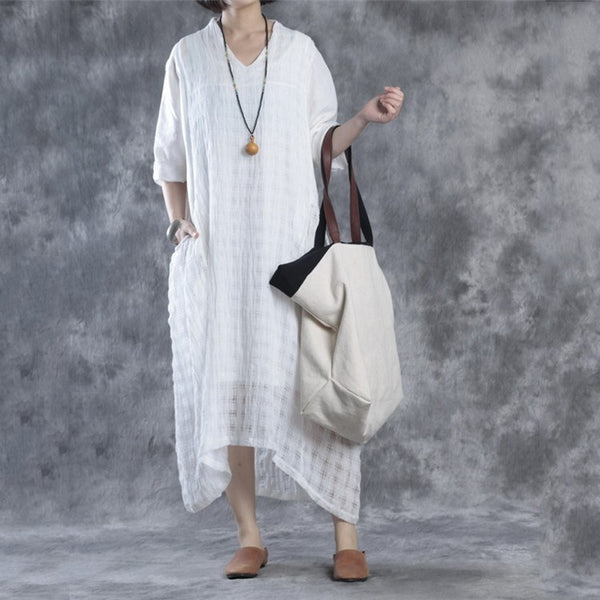 Dress - Women Summer V-neck Linen Dress(with Sleeveless Dress )
