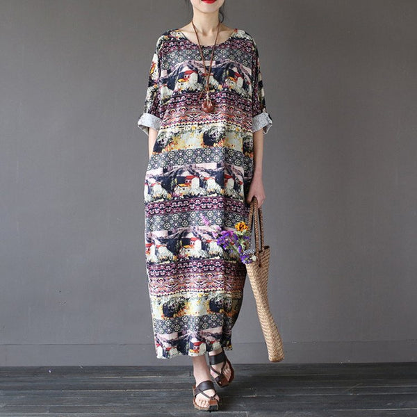 Dress - Women Summer Vintage Cotton Linen Loose Dress