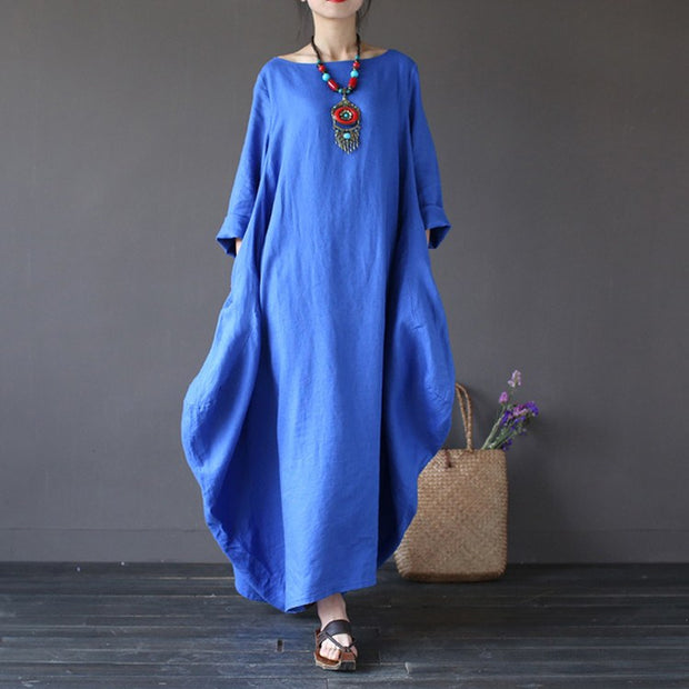 Women summer vintage cotton linen loose dress - Buykud