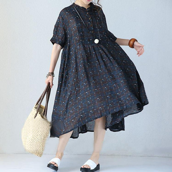 Women summer vintage short sleeve loose pullover cotton linen Plaid dress - Buykud